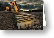 Storm Greeting Cards - Moody Excavator Greeting Card by Meirion Matthias