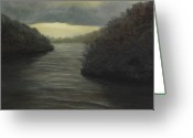 Storm Prints Greeting Cards - Moody River Greeting Card by Johanna Lerwick