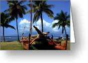 Light Green Digital Art Greeting Cards - Moolele Canoe at Hui O Waa Kaulua Lahaina Greeting Card by Sharon Mau