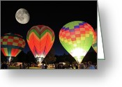 Balloon Fest Greeting Cards - Moon and Balloons Greeting Card by David Freuthal