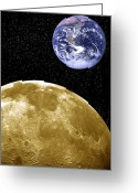 Rising From Earth Greeting Cards - Moon And Earth, Artwork Greeting Card by Victor De Schwanberg