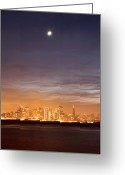 Treasure Island Greeting Cards - Moon And Sf From Treasure Island Greeting Card by Rob Kroenert