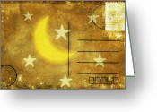 Backside Greeting Cards - Moon And Star Postcard Greeting Card by Setsiri Silapasuwanchai