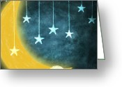 Blue Art Pastels Greeting Cards - Moon And Stars Greeting Card by Setsiri Silapasuwanchai