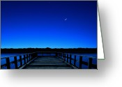 Puerto Rico Greeting Cards - Moon And Venus In The Blue Greeting Card by Carlos Gotay