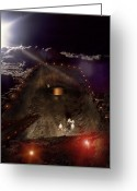 Foundations Greeting Cards - Moon Base Construction Greeting Card by Richard Kail