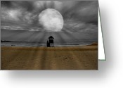 Beach Scenery Mixed Media Greeting Cards - Moon Beams Greeting Card by Ms Judi