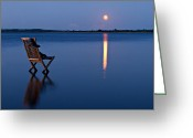 Glowing Greeting Cards - Moon Boots Greeting Card by Gert Lavsen