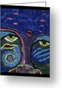 Series Glass Art Greeting Cards - Moon Child - Fantasy Face No. 7 Greeting Card by Gila Rayberg