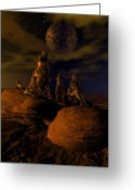 3d Greeting Cards - Moon Chorus Greeting Card by Claude McCoy
