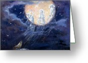 Tonight Greeting Cards - Moon Dance Greeting Card by Silvia  Duran