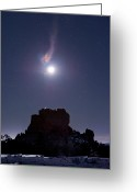 Wispy Greeting Cards - Moon Diffraction Over Malpais Monument Greeting Card by John Davis
