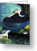 Hare Greeting Cards - Moon Dream Greeting Card by Amanda Clark