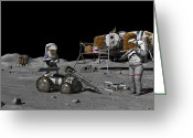 Science Fiction Greeting Cards - Moon Exploration, Artwork Greeting Card by Walter Myers