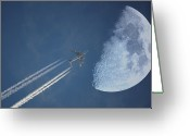 Vapor Greeting Cards - Moon Flight Greeting Card by G.t.
