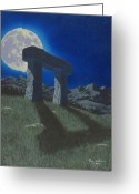 Glowing Moon Greeting Cards - Moon Gate Greeting Card by Martin Bellmann
