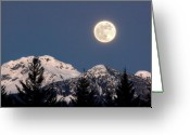 Twilight Photo Greeting Cards - Moon Glow Whistler Canada Greeting Card by Pierre Leclerc