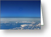 Above The Clouds Greeting Cards - Moon High Above the Clouds Greeting Card by Bill Cannon