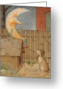 Dark Greeting Cards - Moon Greeting Card by Kestutis Kasparavicius
