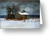 Old Barns Greeting Cards - Moon Light Barn Greeting Card by Mary Timman