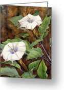 Sacred Greeting Cards - Moon Lilies Greeting Card by Catherine G McElroy