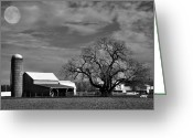 Shed Greeting Cards - Moon Lit Farm Greeting Card by Todd Hostetter