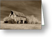 Rural Decay  Digital Art Greeting Cards - Moon lit Sepia Greeting Card by Julie Hamilton