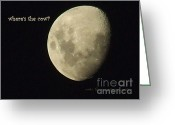 Man In The Moon Greeting Cards - Moon Missing Cow Greeting Card by Vicki Ferrari