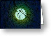 Lunar Greeting Cards - Moon of the Werewolf Greeting Card by DigiArt Diaries by Vicky Browning