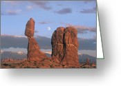 "\""guadalupe National Park\\\"" Greeting Cards - Moon Over Balanced Rock Arches National Greeting Card by Tim Fitzharris"