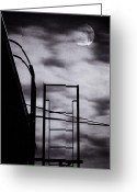 New York Film Greeting Cards - Moon Over Brooklyn Rooftop Greeting Card by Gary Heller