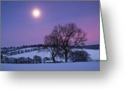 Glowing Moon Greeting Cards - Moon Over Chilterns Greeting Card by Photontrappist