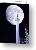 Maiden Greeting Cards - Moon Over Dewey Greeting Card by Wingsdomain Art and Photography