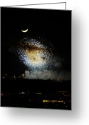 Illuminations Greeting Cards - Moon over EPCOT Greeting Card by David Lee Thompson