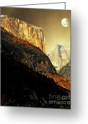 Gold Mountain Mixed Media Greeting Cards - Moon Over Half Dome . Portrait Cut Greeting Card by Wingsdomain Art and Photography