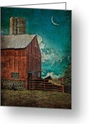 Sharon Obrien-huey Greeting Cards - Moon Over Horse Barn Greeting Card by Sharon OBrien-Huey