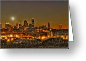 Mo Greeting Cards - Moon Over Kansas City Mo Greeting Card by Don Wolf
