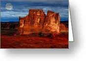 Moonrise Greeting Cards - Moon over La Sal Greeting Card by Harry Spitz