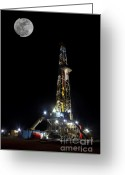 Gas Greeting Cards - Moon Over Latshaw 10 Greeting Card by Jonas Wingfield