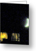 Light And Dark  Greeting Cards - Moon Over Manhattan Greeting Card by Maria Scarfone