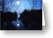 Shelton Greeting Cards - Moon over Mill Creek Greeting Card by Patricia Strand