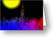 Cityscape Digital Art Greeting Cards - Moon over New York Greeting Card by Stefan Kuhn