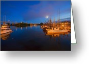 Twilight Greeting Cards - Moon over Sitka Marina Greeting Card by Mike  Dawson
