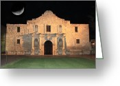 Alamo Greeting Cards - Moon over the Alamo Greeting Card by Carol Groenen