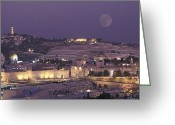Moonrise Greeting Cards - Moon Over The Dome Of The Rock Greeting Card by Richard Nowitz