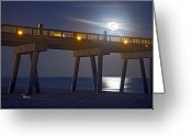 Moonrise Greeting Cards - Moon over the Pier 2 Greeting Card by Richard Roselli