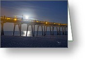 Moonrise Greeting Cards - Moon over the Pier Greeting Card by Richard Roselli