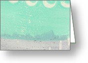 Sea Cottage Greeting Cards - Moon Over The Sea Greeting Card by Linda Woods