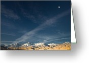 Forested Greeting Cards - Moon Over the Sierras Greeting Card by Marius Sipa
