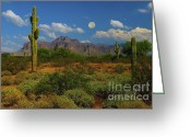 Gold Mountain Mixed Media Greeting Cards - Moon over the Superstition Mtn Greeting Card by Brian Lambert